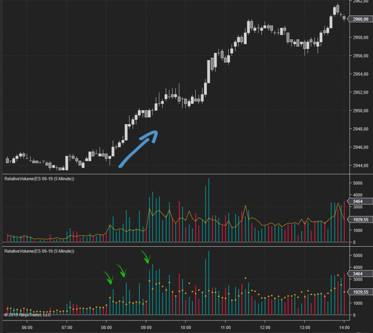 Relative Volume Indicator NT8 - Chart Spots